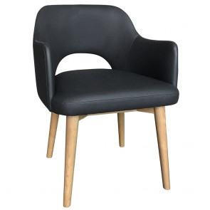 Scandi Tub Chair Commercial Vinyl Natural Wood Legs