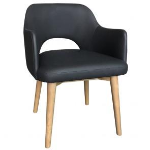 Scandi Tub Chair Commercial Vinyl Natural Wood Legs