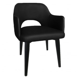 Scandi Vinyl Tub Chair Black Metal Legs