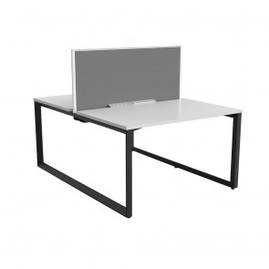 Space Double Sided 2 Person Office Desk Black Frame with Acoustic Screen