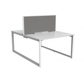 Space Double Sided 2 Person Office Desk White Frame with Acoustic Screen