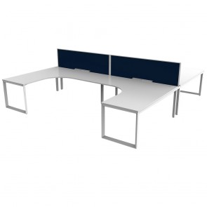 Space Double Sided 90° 4 Pod Office Workstation White Frame with Acoustic Screens