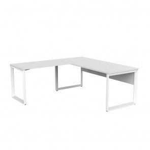 Space Office Desk White Frame with Return and Modesty Panel