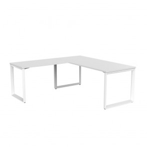Space Office Desk White Frame with Return