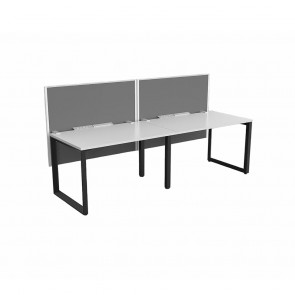 Space Single Sided 2 Person Office Workstation Black Frame with Acoustic Screens