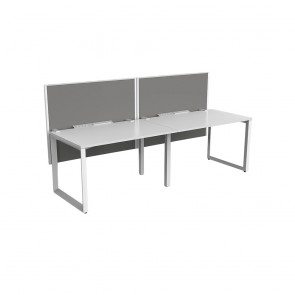 Space Single Sided 2 Person Office Workstation White Frame with Acoustic Screens