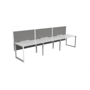Space Single Sided 3 Person Office Workstation White Frame with Acoustic Screens