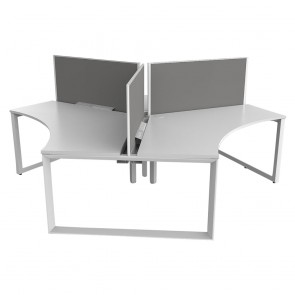Space 120° 3 Pod Office Workstation White Frame with Acoustic Screens