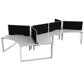 Space 120° 6 Pod Office Workstation White Frame with Acoustic Screens