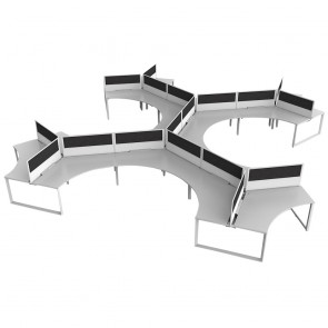 Space 18 Person Office Workstation White Frame with Acoustic Screens