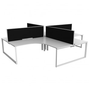 Space 90° 4 Pod Office Workstation White Frame with Acoustic Screens