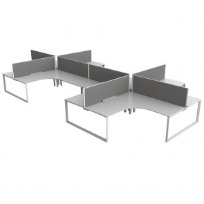 Space 90° 8 Pod Office Workstation White Frame with Acoustic Screens