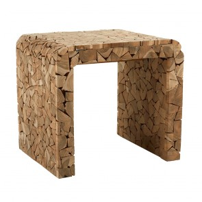 Timber Side Table Mosaic Wood Design