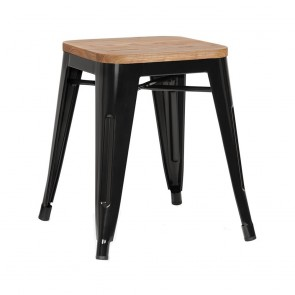 Tolix Low Stool Ash Wood Seat