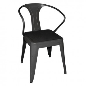 Tolix Steel Bistro Armchairs Black (Pack of 4)