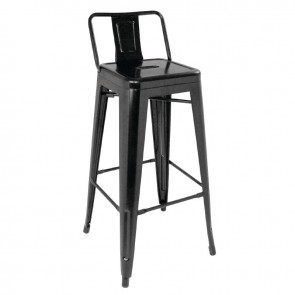 Tolix Steel Bistro High Stools with Back Rests Black (Pack of 4)