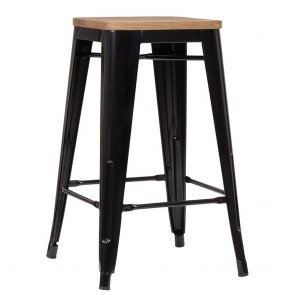 Tolix Counter Stools with Wooden Seats