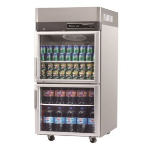 Austune Turbo Air Stainless Steel Upright Display Fridge 2 Half Doors KR25-2G