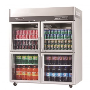 Austune Turbo Air Stainless Steel Upright Display Fridge 4 Half Doors KR45-4G