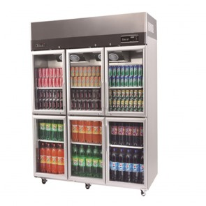 Austune Turbo Air Stainless Steel Upright Display Fridge 6 Half Doors KR65-6G