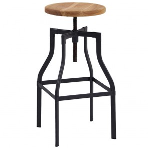 Industrial Metal Turner Bar Stool Ash Timber Seat