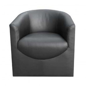 Ursula Black Leather Tub Chair