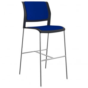 Vibrant Stackable Bar Stool Chrome Legs Upholstered Seat & Back