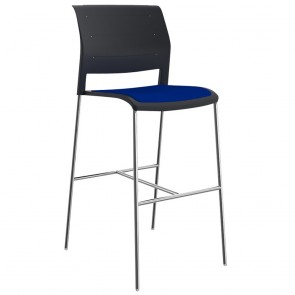 Vibrant Stackable Bar Stool Chrome Legs Upholstered Seat