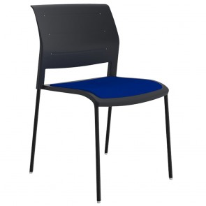 Vibrant Stackable Visitor Chair Black Legs Upholstered Seat
