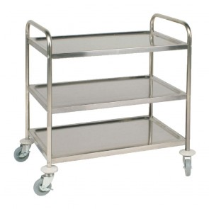 Vogue Stainless Steel 3 Tier Clearing Trolley Medium