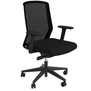 Wave Sync Black Office Chair with Armrests