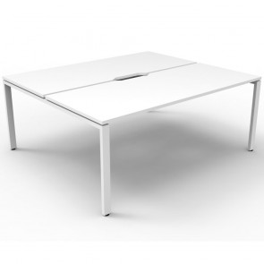 White 2 Person Double Sided Workstation White Legs