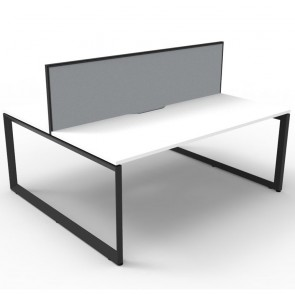 White 2 Person Double Sided Workstation with Screens Black Legs