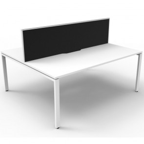 White 2 Person Double Sided Workstation with Screens White Legs