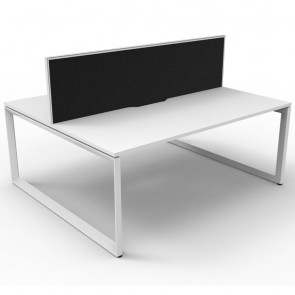 White 2 Person Double Sided Workstation with Screens White Loop Legs