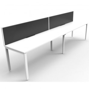 White 2 Person Single Sided Workstation with Screens White Legs