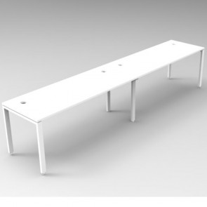 White 2 Person Single Sided Workstation White Legs
