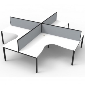 White 4 Person Corner Workstation with Screens Black Legs