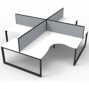White 4 Person Corner Workstation with Screens Black Loop Legs
