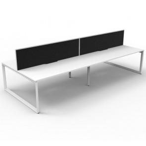 White 4 Person Double Sided Workstation with Screens White Loop Legs