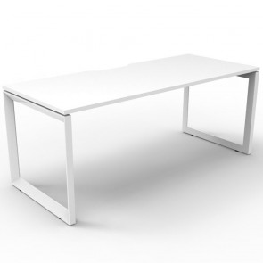 White Office Desk Workstation White Loop Legs