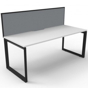 hite Office Desk Workstation with Screen Black Loop Legs