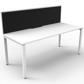 White Office Desk Workstation with Screen White Legs
