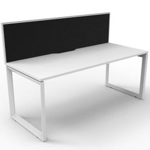 White Office Desk Workstation with Screen White Loop Legs