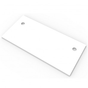 White Straight Office Desk Table Top with 2 Cable Entry