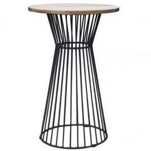 Oak Bar Table with Studio Wire Base - Black