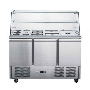 XS900GC FED-X Two Door Salad Prep Fridge With Square Glass Top - XS900GC