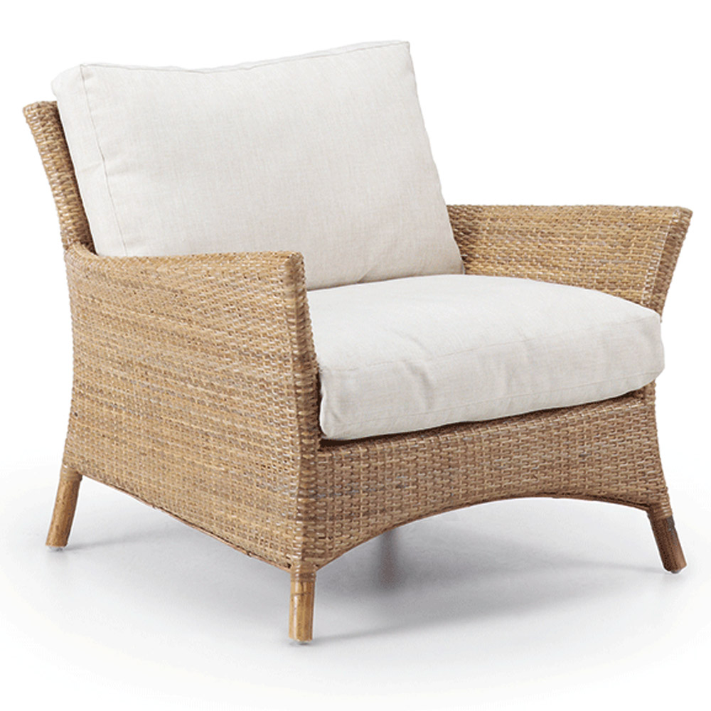Seija Natural Wicker Armchair Comfortable White Cushions | Barons